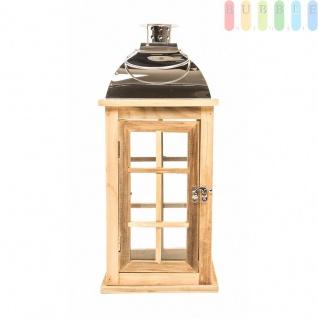 Holzlaterne von Arti Casa mit Metalldach, hochglänzend, Glaseinsätze, Sprossenfenster, Tür mit Deko-Verschluss, Größe44 cm