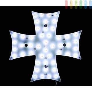 Malteserkreuz-Leuchte mit 48 LEDs von ALL Ride, Dekoration für LKW bzw. Wohnmobil, weiß, Indoor und Outdoor, 24V, ca. 16 x 16 cm