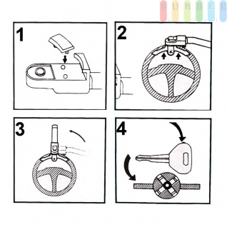 Lenkradkralle All Ride aus gehärtetem Stahl, abschließbar, passen für die meisten Fahrzeuge, 2 Schlüssel, gelb - Vorschau 5