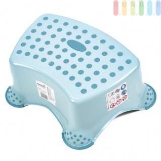 Tritthocker für Kinder, Stufenhocker sicher durch gummierte Füße und Stehfläche, robuster Kunststoff, Farbe hellblau, Maximalgewicht bis 80 kg