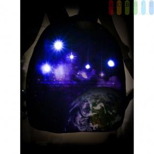Disco-Kinderrucksack mit 6 LEDs von Party Fun Lights, 2Fächer, Gurte verstellbar, Batteriebetrieb, Höheca. 33, 5cm, Weltall-Design