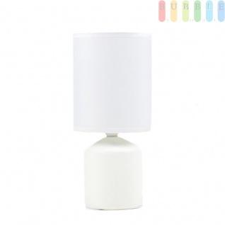 Tischleuchte Schirm Weiß 2-flammig Tischlampe verstellbar H:89cm Bodenleuchte