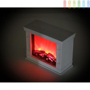 Deko Kamin mit flackernder Flamme von Grundig, Leuchte in Kamin-Optik mit 7 LEDs, batteriebetrieben, An/Aus-Schalter, 6 Std.-Timer, Höhe ca. 20, 5 cm, Farbe Weiß