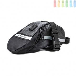 Fahrrad Satteltasche von Dunlop, Klett-/Klick-Montage, reflektierendeStreifen, wasserdicht, Größeca.20x10/5x8cm, Farbe Schwarz