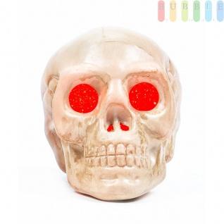 Halloween Skull /Schädel von Arti Casa, LED-beleuchtet, freistehend oder hängend, Ein-Aus-Schalter, Batterien inklusive, Höheca.9cm, Farbe Rot