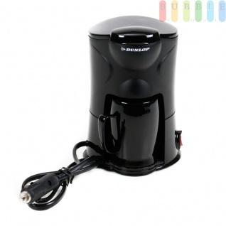 Kaffeemaschine für 1 Tasse von Dunlop, mit Becher, Dauerfilter, Befestigungsmaterial, für LKWs, 24 Volt 250 Watt, schwarz