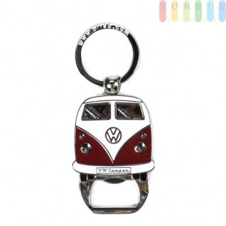 VW T1 Bus Schlüsselanhänger mit Flaschenöffner, Front-Design, Sammlerstück aus VW-Kollektion, Zink-Aluminium vernickelt, emailliert, rot