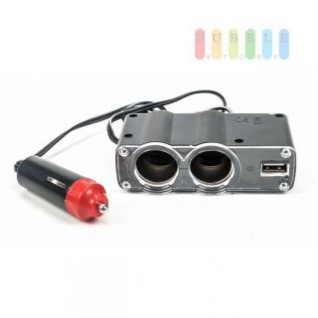 Steckdose All Ride 2-fach und 1 x USB, Blende transparent, Kontrollleuchte, Kabel 95 cm, 12V/5A, USB max. 1, 2A
