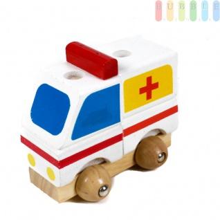 Holz-Krankenwagen Steck-Puzzle für Kleinkinder aus 5 Teilen, weiß mit blau/gelb/rot, ca. 9 cm