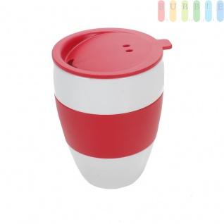 Thermobecher mit Trinkdeckel, für die meisten Getränkehalter, hält warm und kalt, Deckel mit Silikonringdichtung, leichtes öffnen, lebensmittelecht, Kunststoff, Melamin und BPA-frei, V 0, 4l