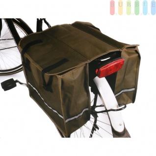 Doppel-Satteltasche für Fahrrad-Gepäckträger, wasserfest, Taschen mit reflektierendem Streifen, verschließbar, Rückwand verstärkt, oliv-braun