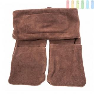 Fleece-Schal mit integrierter Mini-Heizung, 2 Taschen für die Hände, Batteriebetrieb, Größeca.165x16cm, Farbe Braun