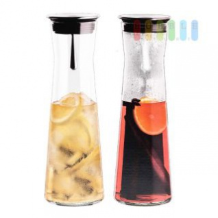 Glaskaraffe mit Edelstahlausgießer von Simax Exclusive, hitze-/kältebeständiges Borosilikatglas, Höhe ca. 31 cm, Volumen ca. 1, 1 l