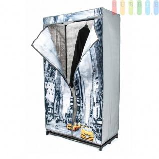 Faltkleiderschrank, 1Kleiderstange, werkzeugloseMontage, Größe 156x87x45cm, Design New York
