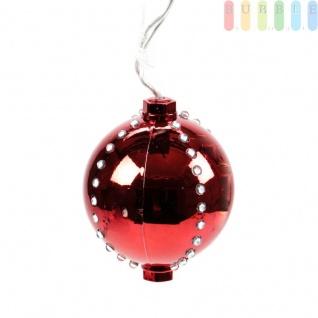 Weihnachtskugel mit 44 LEDs von Christmas Gifts, 6 Licht-Modi, Kunststoff, Christbaumkugel, Adventsdekoration, mit Aufhänger, Ø ca. 8 cm, Netzkabel ca. 155 cm, 230V/50Hz, Farbe Rot