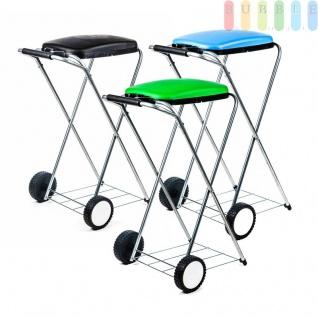 Müllsackständer, mobil, Doppelrahmen, Säcke von 60 bis 130 l Volumen, lieferbar in den Farben Schwarz, Grün oder Blau
