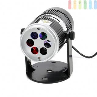 LED-Projektor von Grundig, 4 LEDs, wechselnde Farben durch Drehscheibe, zusätzlich 4 Muster-Schablonen für verschiedene Anlässe, kippbar ca. 300°, LED-Kabel oder Batteriebetrieb