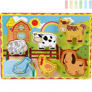 """Holzpuzzles """" Bauernhof"""" für Kleinkinder von Marionette mit 6 Puzzleteilen auf Grundplatte, bunt, ca. 30 x 22 cm"""