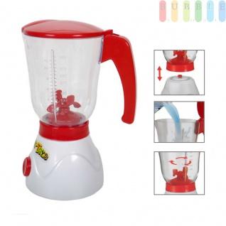 Kinder Spielzeug Mixer mit Klapp-Deckel, Sichtfenster mit Füllmengenskala bis 350 ml, Start-Knopf, Kunststoff, Lebensmittelecht, Batteriebetrieb