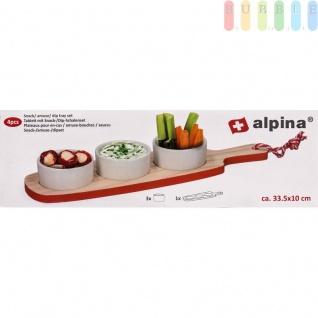 Snack- und Soßenschalen-Set von Alpina auf Holzbrett, Keramik-Schalen, Design rustikal Größeca.33x4, 5cm, Farbe Rot