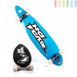 Longboard von No Fear mit Holz-Deck, Kunststoffrollen, Kugellager ABEC7, Alu-Truck, Grip-Tape, Größe44''/112cm, Design No Fear in blau