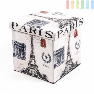 Polsterhocker, Kunstleder, faltbar, mit Stauraum im Würfel, Maße38x38cm, Paris-Design