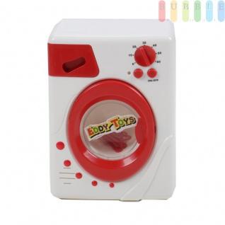 Kinder Waschmaschine, Spielzeug mit Licht und Ton plus 3 Kleiderbügel von EDDY TOYs, An/Aus-Schalter, rotierende Trommel, Betriebsleuchte, Waschmittelfach, Batteriebetrieb