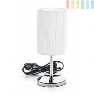 Tischlampe von Grundig, Edelstahl-Fuß, Textil-Schirm, elegantesDesign, E14/25W max., Zylinder