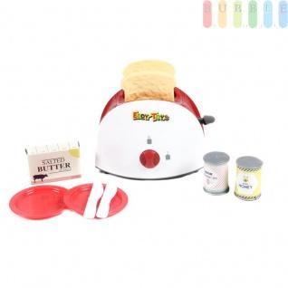 Kinder Toaster Spielzeug, Spielset von EDDY TOYs, 10 Teile mit 2-Schlitz-Toaster, Toast, 2 Teller plus Messer, Kunststoff, manueller Betrieb