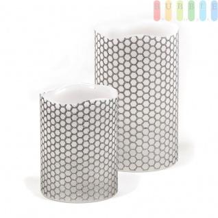2 Wachs-LED-Kerzen rusfrei flackernder Kerzenschein, Innen, Batteriebetrieb, 1 LED, Waben-Design, weiß/silber