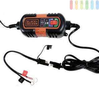 KFZ-Batterieladegerät / Erhaltungsladegerät von Black + Decker, 6/12V für Blei/Säure, Gel-, Nass- und AGM-Batterien bis 120 Ah, Hochfrequenz Ladetechnik, LED-Anzeige