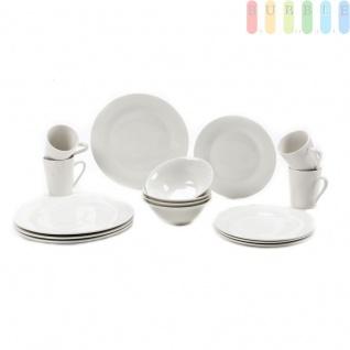 Geschirr-Set, 16-teiliges Tafel-Service für 4 Personen von Alpina, für Privat und Gastronomie, Keramik-Set aus Essteller, Frühstücksteller, Müsli-Schale, Becher, modern, weiß