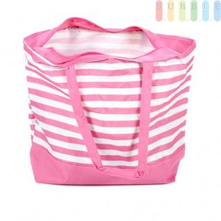 Strandtasche mit Reißverschluss und 2 Tragegriffen, wasserdicht, abwaschbar, platzsparende Aufbewahrung, Größe ca. 48 x 16 x 35 cm, Farbe Pink