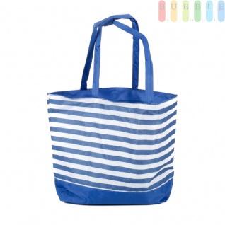 Strandtasche mit Reißverschluss und 2 Tragegriffen, wasserdicht, abwaschbar, platzsparende Aufbewahrung, Größe ca. 48 x 16 x 35 cm, Farbe Blau