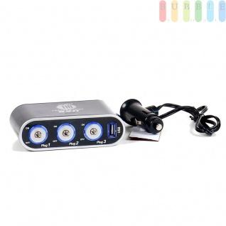 Steckdose/USB-Adapter ALL Ride 3-fach, selbstklebend, einzeln geschaltet, beleuchtet, 1 x USB, 12/24V, 5A