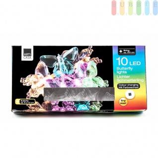 Lichterkette von ArtiCasa, 10 LEDs mit automatischem Farbwechsel, Länge ca. 210 cm, im Design Schmetterling
