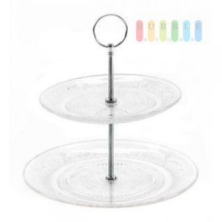 Etagere von Alpina mit 2 Ebenen aus Glas mit Ornamenten dekoriert, Metall-Gestänge, Durchmesser ca. 18/23 cm, Höhe ca. 23 cm
