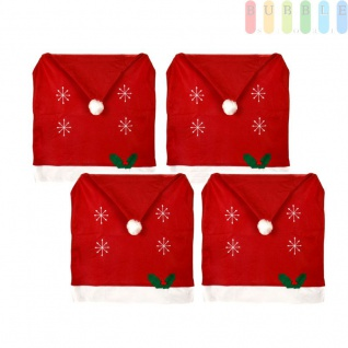 4x Weihnachtssitzbezug, weihnachtliche Stuhlhusse aus Filz in Form einer Weihnachtsmütze mit Bommel, Sternen, Stechpalmenblätter mit roten Beeren