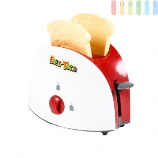 Kinder Toaster, Spielzeug für die Kinderküche von EDDY TOYs, 3 Teile mit 2-Schlitz-Toaster und 2 x Toast, Kunststoff; manueller Betrieb