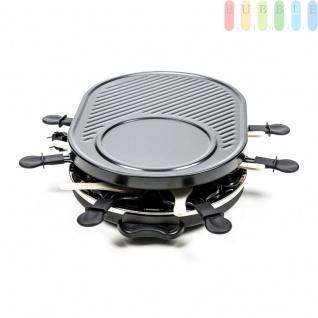 Raclette-Grill von Cuisinier Deluxe für 8 Personen, Thermostat, Kontrollleuchte, vielseitig, schwarz, Größe47x32x12cm, 1200W