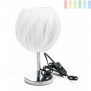 Tischlampe von Grundig, Edelstahl-Fuß, Textil-Schirm, elegantesDesign, E14/25W max., Kugel