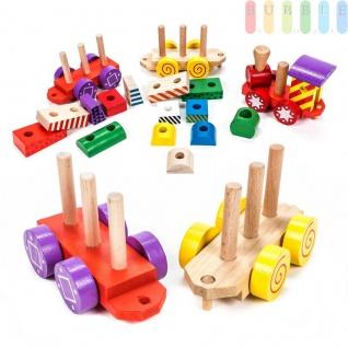 Holz-Eisenbahn-Spielset von Marionette mit 3Wagen und 14 Holzbausteinen, Steckverbindung, 17-teilig, bunt - Vorschau 3