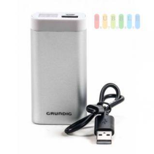 USB-Powerbank /mobiler Akku von Grundig mit Ladekabel, Ladestandsanzeige , 4000 mAh, silber