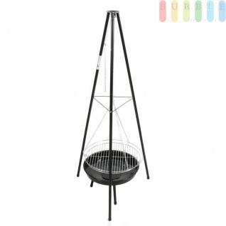 Holzkohlegrill mit Feuerschale aus Stahl, Grillrost verchromt, Hitzezufuhr variabel, große Grillfläche, Schwenkgrill Höheca.153 cm