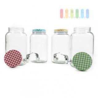 Getränkespender mit Zapfhahn, Filter und Schraubverschluss, Retrodesign, Volumen 3 Liter, lieferbar in den Farben Grün, Gelb, Blau oder Rot