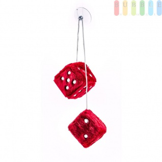 Plüschwürfel ALL Ride als Paar mit Band und Saugnapf, verstellbar, 7, 5cm, Farbe Rot