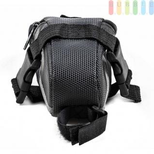 Fahrrad Satteltasche von Dunlop, Klett-/Klick-Montage, reflektierendeStreifen, wasserdicht, Größeca.20x10/5x8cm, Farbe Schwarz - Vorschau 4