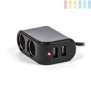 Adapter/Ladegerät ALL Ride für Normsteckdosen, 2x Zigarettenanzünder 2 x USB, Kontrollleuchte, 12/24V,5V/3, 1A - Vorschau 2
