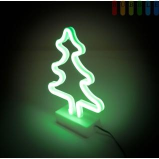 Neon LED-Weihnachtsbaum von ALL Ride, mit Ständer, doppelseitigem Klebepad, für LKW, PKW, Wohnmobil, Kabel mit Stecker für Zigarettenanzünderbuchse, 12-24 Volt, Höhe ca. 29, 5 cm