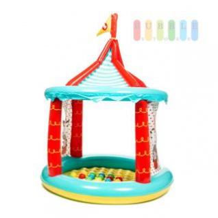 Zirkuszelt-Bällebad von Fisher Price, aufblasbar, 2 Öffnungen, Boden weich, 25 Bälle inklusive, Maße ca. 104 x 137 cm